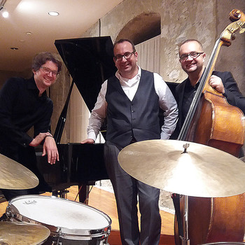 With Klemens Marktl (dr), Stefan Pišta Bartuš (bs) a.k.a. Art Of Trio in Friesach (A), 2017 <em>Photo: Carmen Kassekert</em>